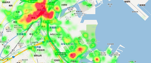 横浜周辺のヒートマップ