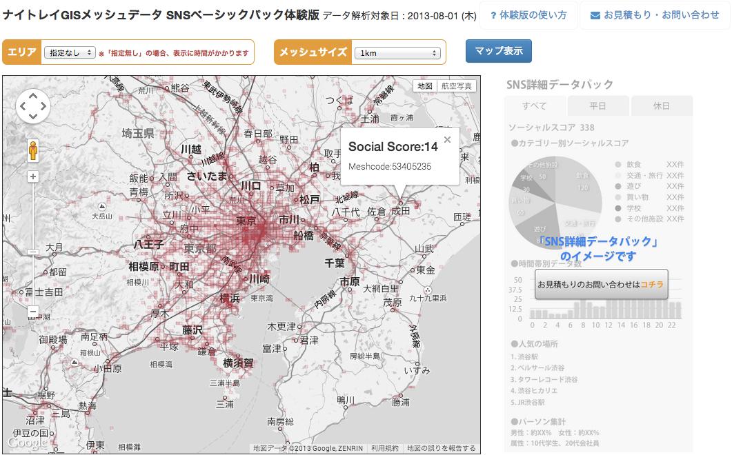 ナイトレイGISメッシュデータ体験版サイトhttp://tool.nightley.jp/gis-demo/
