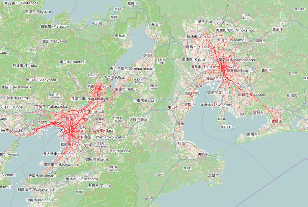 疑似人流データ関西版+中京版のビジュアライズ例
