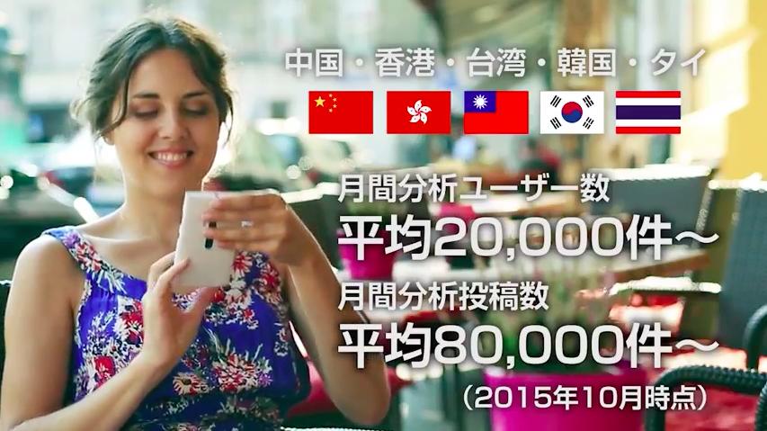 日本に多く訪れている、中国、香港、台湾、韓国、タイの5カ国から毎月平均2万ユーザー、8万件の投稿を分析できます。