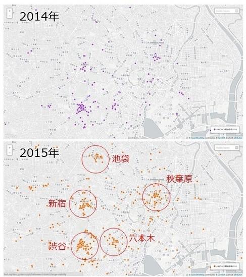 全国での盛り上がりがあるとはいえ都心部を拡大すると新宿、秋葉原、六本木、池袋、特に渋谷周辺が一番盛り上がっていることが確認できました