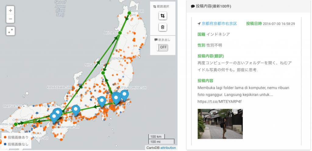 日本に約1週間滞在したインドネシアからの訪日旅行者の行動ルート
