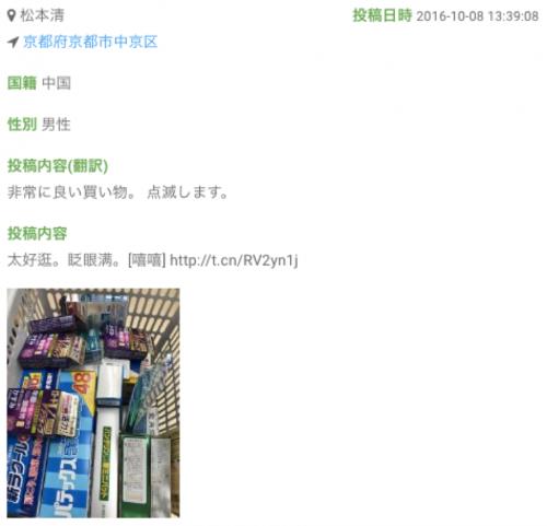 中国人男性による医薬品の爆買いの様子