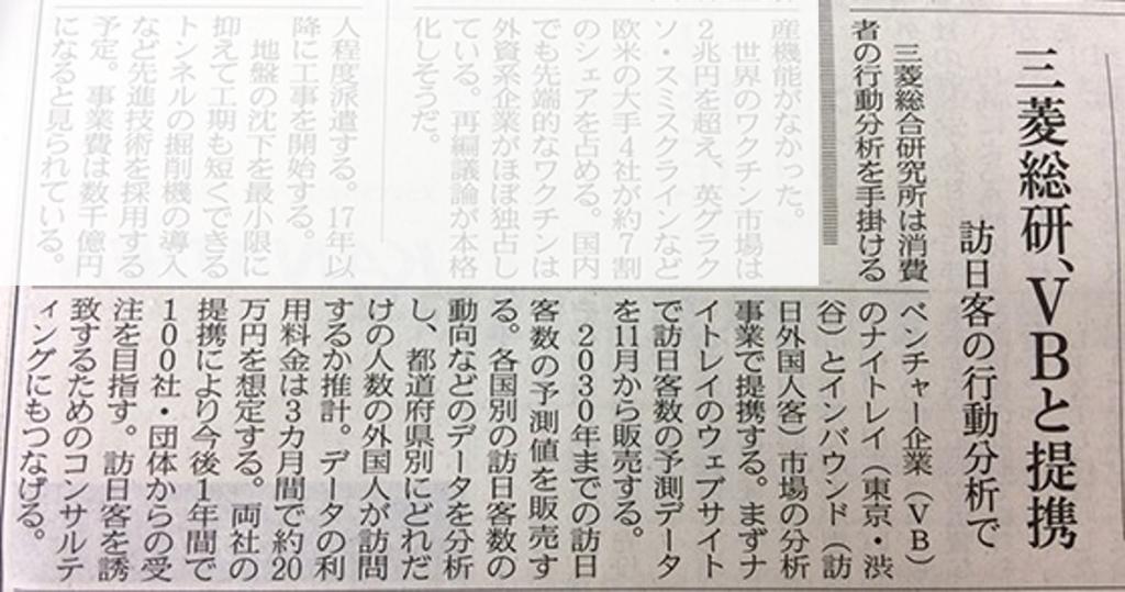 10月20日、日経新聞朝刊に掲載されました
